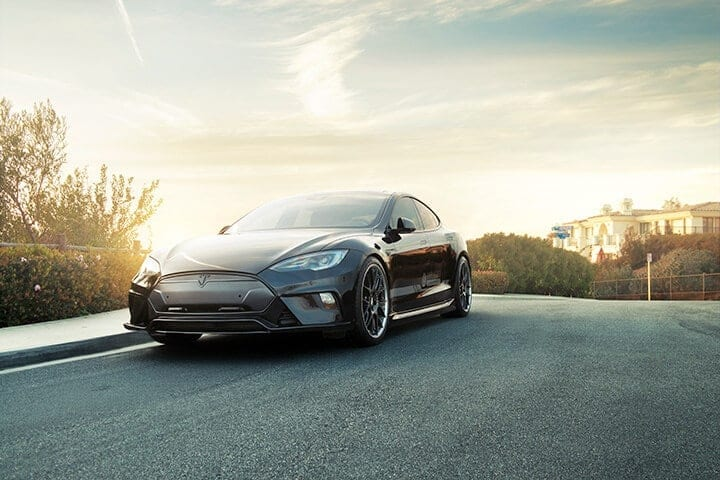 Unplugged Performance Tesla Model S Full Front Fascia System in dry carbon fiber painted black