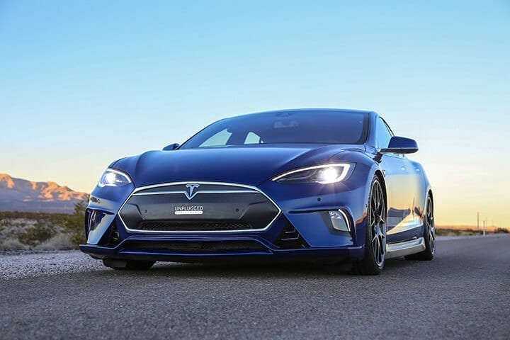 Unplugged Performance Tesla Model S Full Front Fascia System in dry carbon fiber close-up