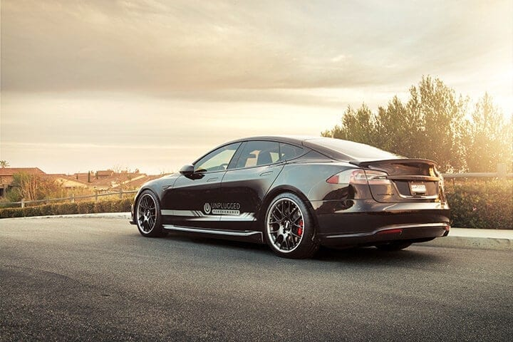 Unplugged Performance Rear Under Spoiler and Diffuser System for Tesla Model S - Solid Black Rear 3/4 View