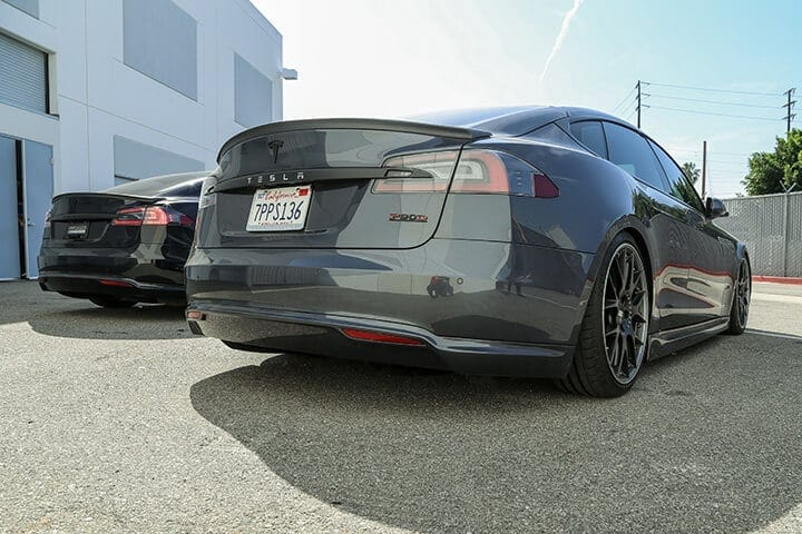 Unplugged Performance Rear Under Spoiler and Diffuser System for Tesla Model S - Midnight Silver Metallic Rear 3/4 View