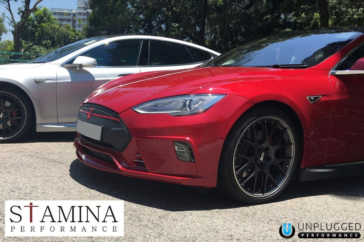 Unplugged Performance Flagship Front Fascia for Tesla Model S - Multicoat Red 3/4 Angle