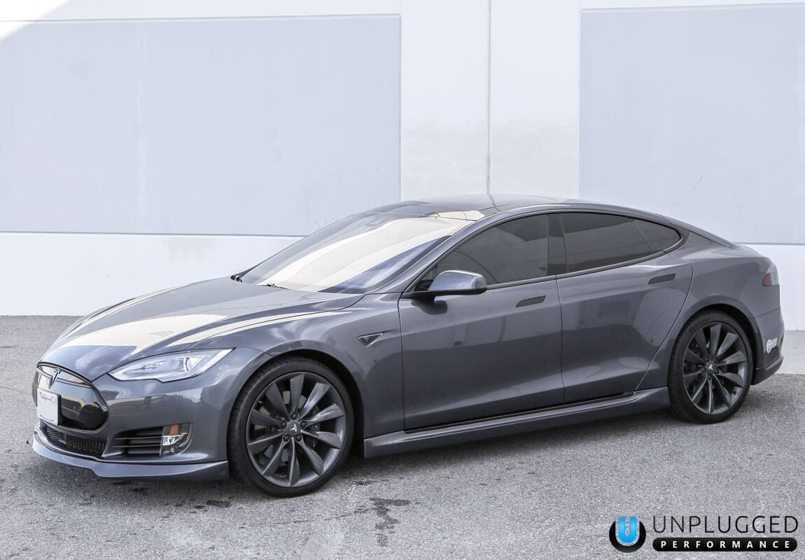 Unplugged Performance Side Skirt Set and Front Spoiler and Diffuser System for Tesla Model S in Midnight Silver Metallic - Front 3/4 View