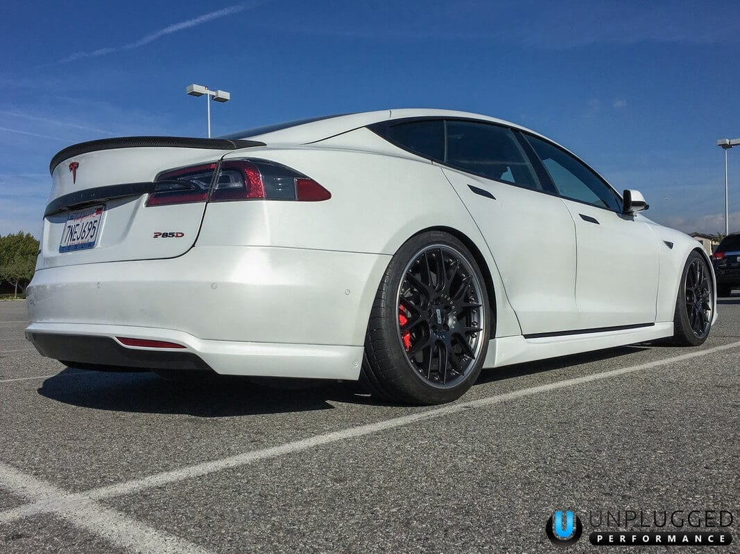 Unplugged Performance Rear Under Spoiler and Diffuser for Tesla Model S - Pearl White Multi-Coat - Rear 3/4 View