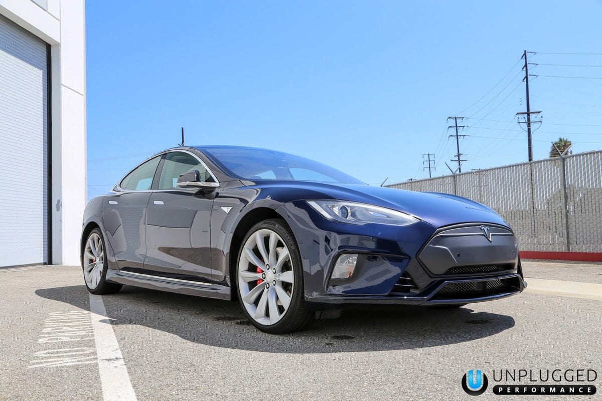 Unplugged Performance Flagship Front Fascia for Tesla Model S - Deep Blue Low Angle