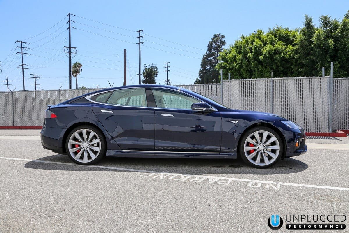Unplugged Performance Side Skirt Set for Tesla Model S - Pacific Blue Metallic Side View