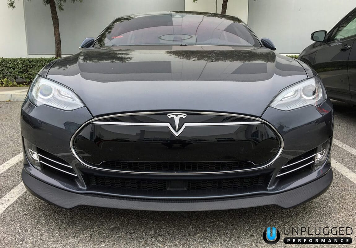 Unplugged Performance Carbon Fiber Front Spoiler and Diffuser System Black Model S