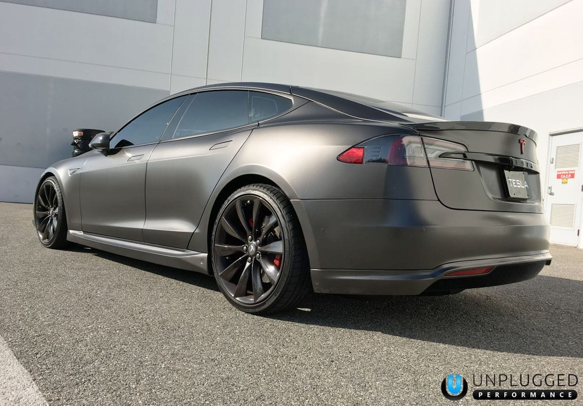 Unplugged Performance Rear Under Spoiler and Diffuser System for Tesla Model S - Matte Grey Metallic Rear 3/4 View