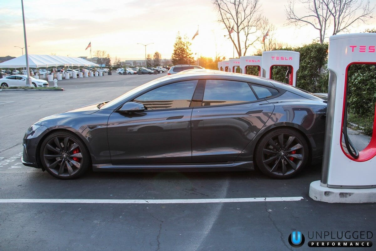 Unplugged Performance Side Skirt Set for Tesla Model S - Midnight Silver Metallic Side Supercharger