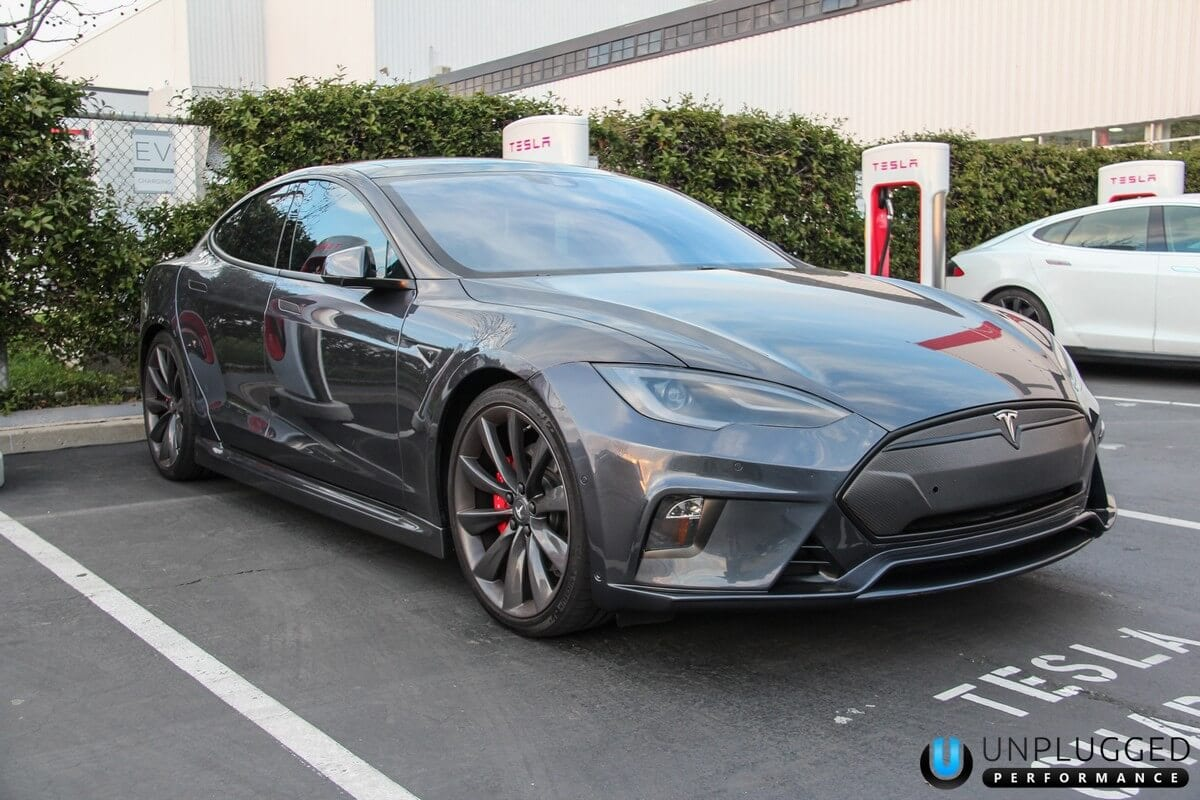 Unplugged Performance Flagship Front Fascia for Tesla Model S - Midnight Silver Metallic
