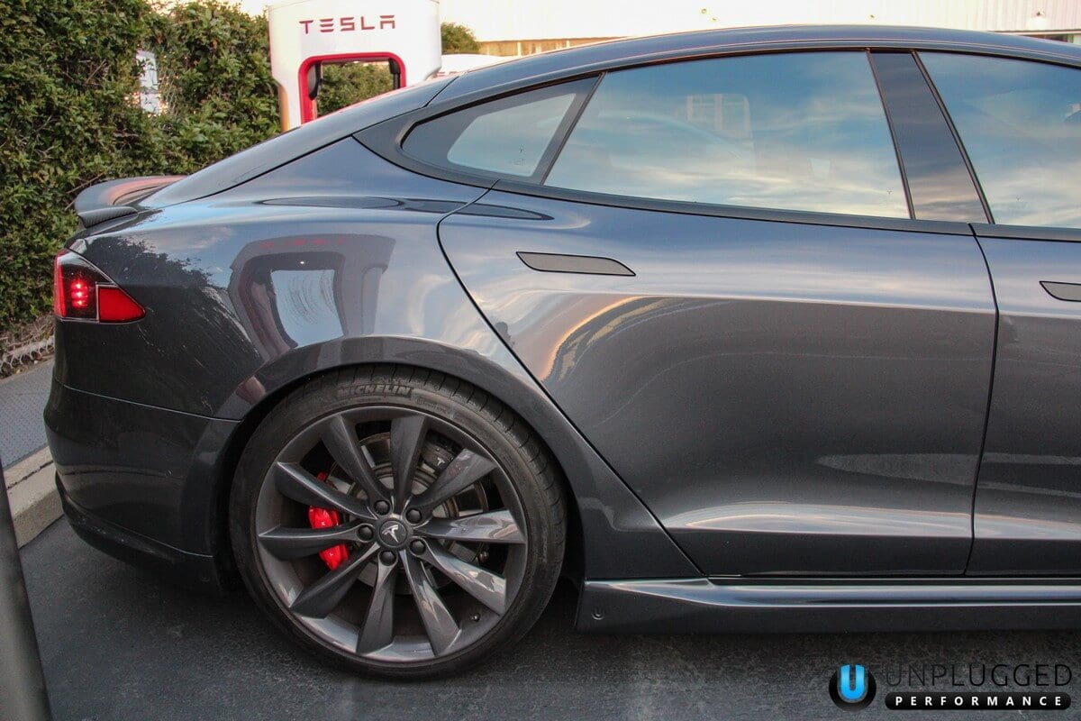 Unplugged Performance Side Skirt Set for Tesla Model S - Midnight Silver Metallic Rear Quarter