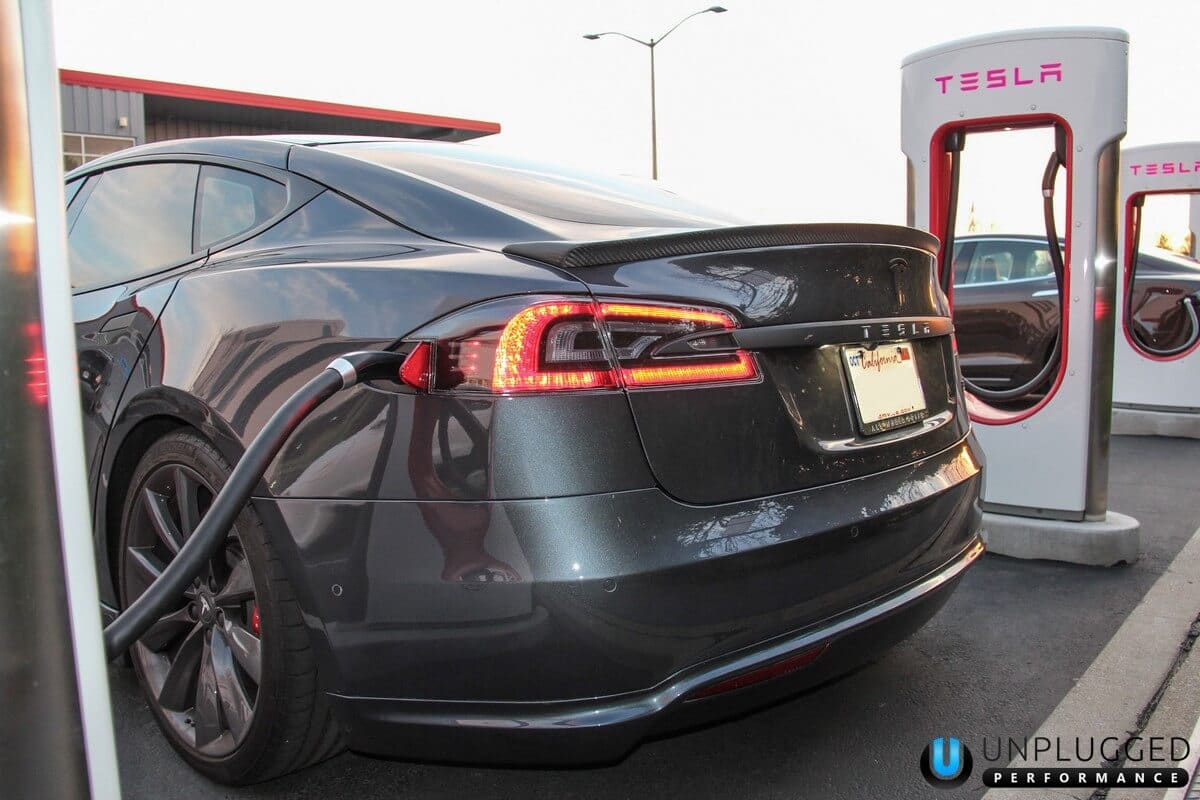 Unplugged Performance Rear Under Spoiler and Diffuser System for Tesla Model S - Dark Metallic Grey Rear 3/4 View