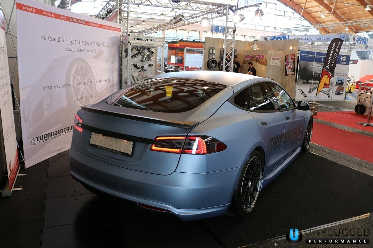 Unplugged Performance Rear Under Spoiler and Diffuser System for Tesla Model S - Matte Blue Metallic Rear 3/4 View