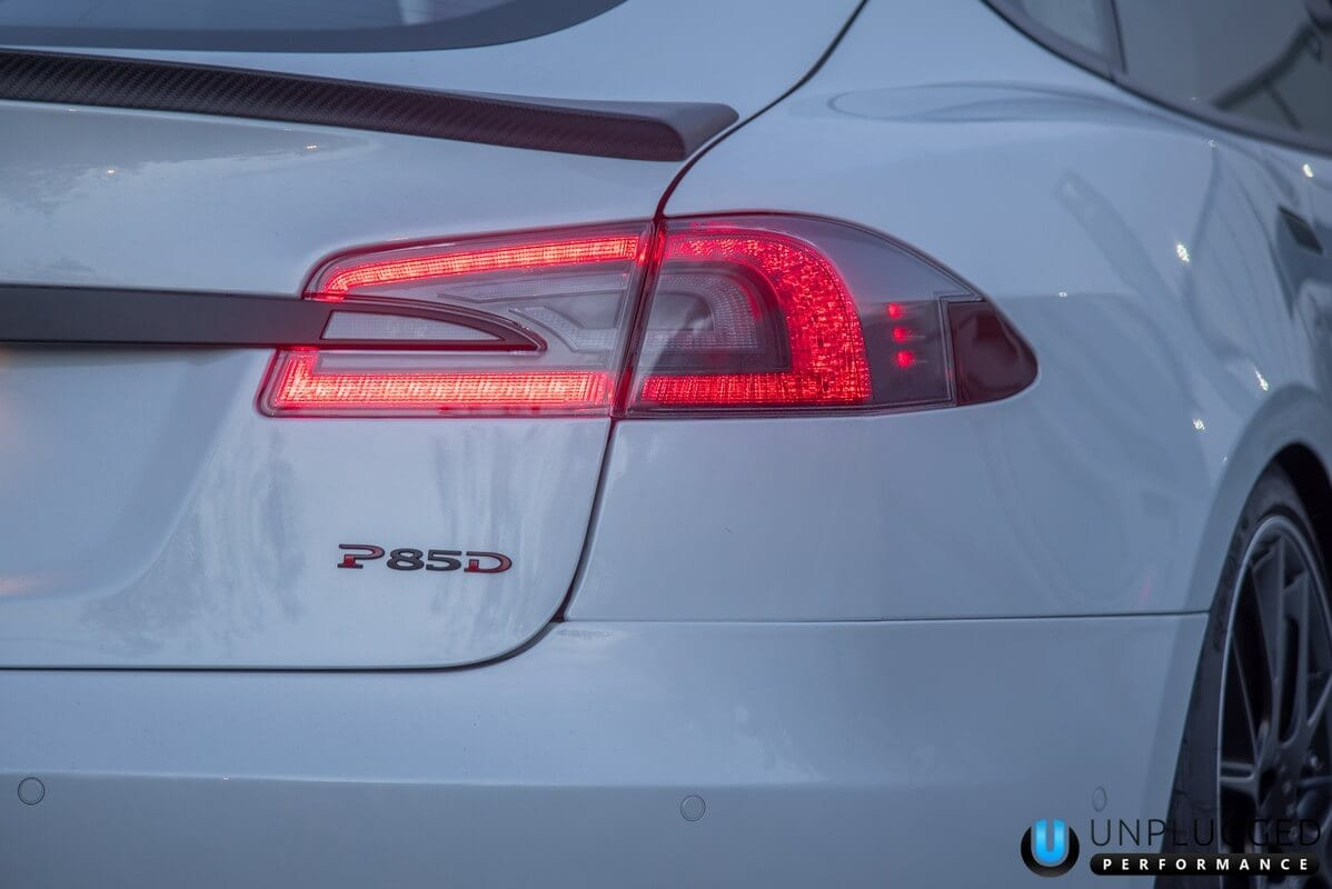 Unplugged Performance Trunk Spoiler for Tesla Model S - Pearl White Rear Close-Up