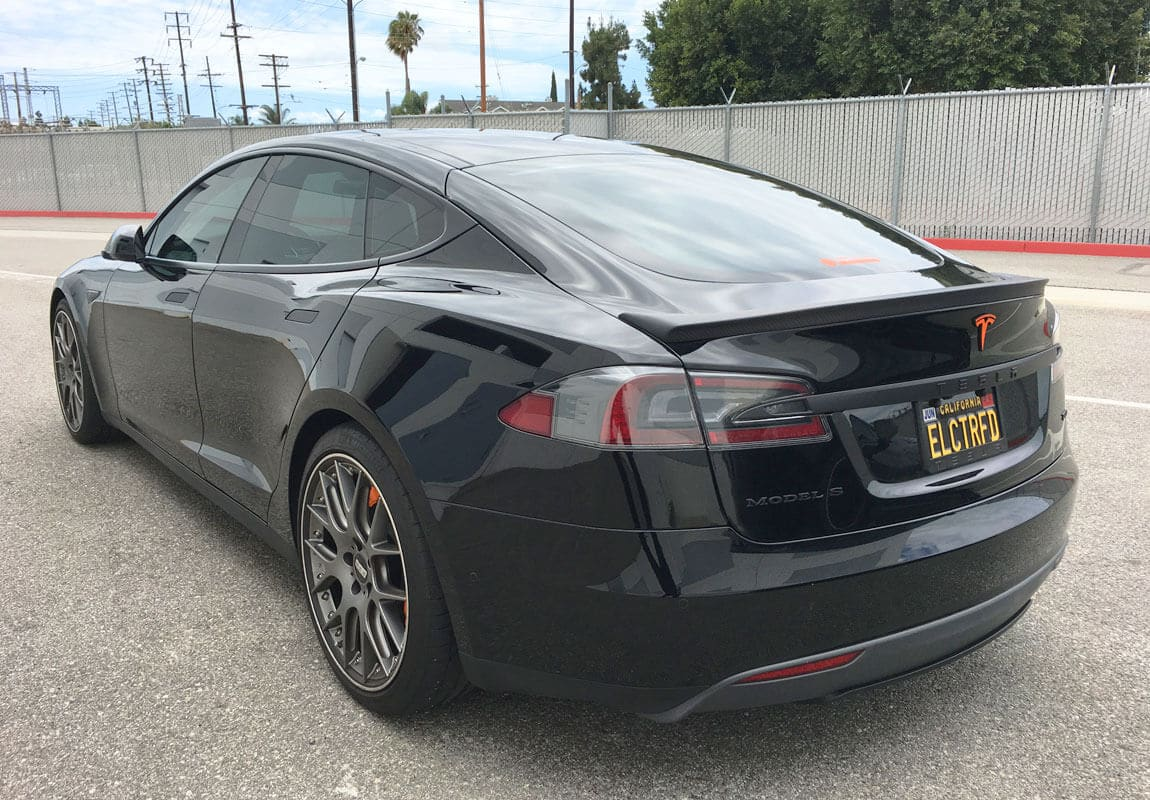 Unplugged Performance Trunk Spoiler for Tesla Model S - Solid Black Rear 3/4 View