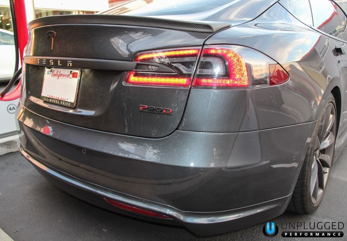 Unplugged Performance Trunk Spoiler for Tesla Model S - Midnight Silver Metallic Close-Up