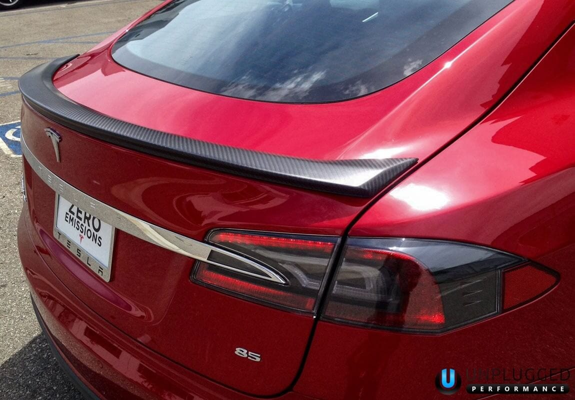 Unplugged Performance Trunk Spoiler for Tesla Model S - Multi-Coat Red 3/4 View