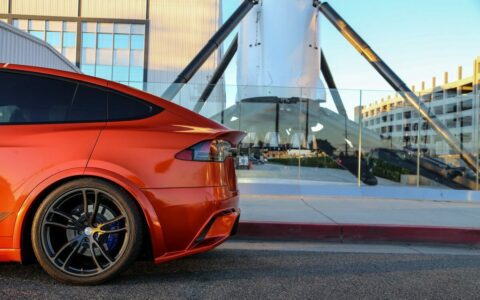 Unplugged Performance Dry Carbon Fiber Rear Decklid Spoiler (Gloss) for Tesla Model X