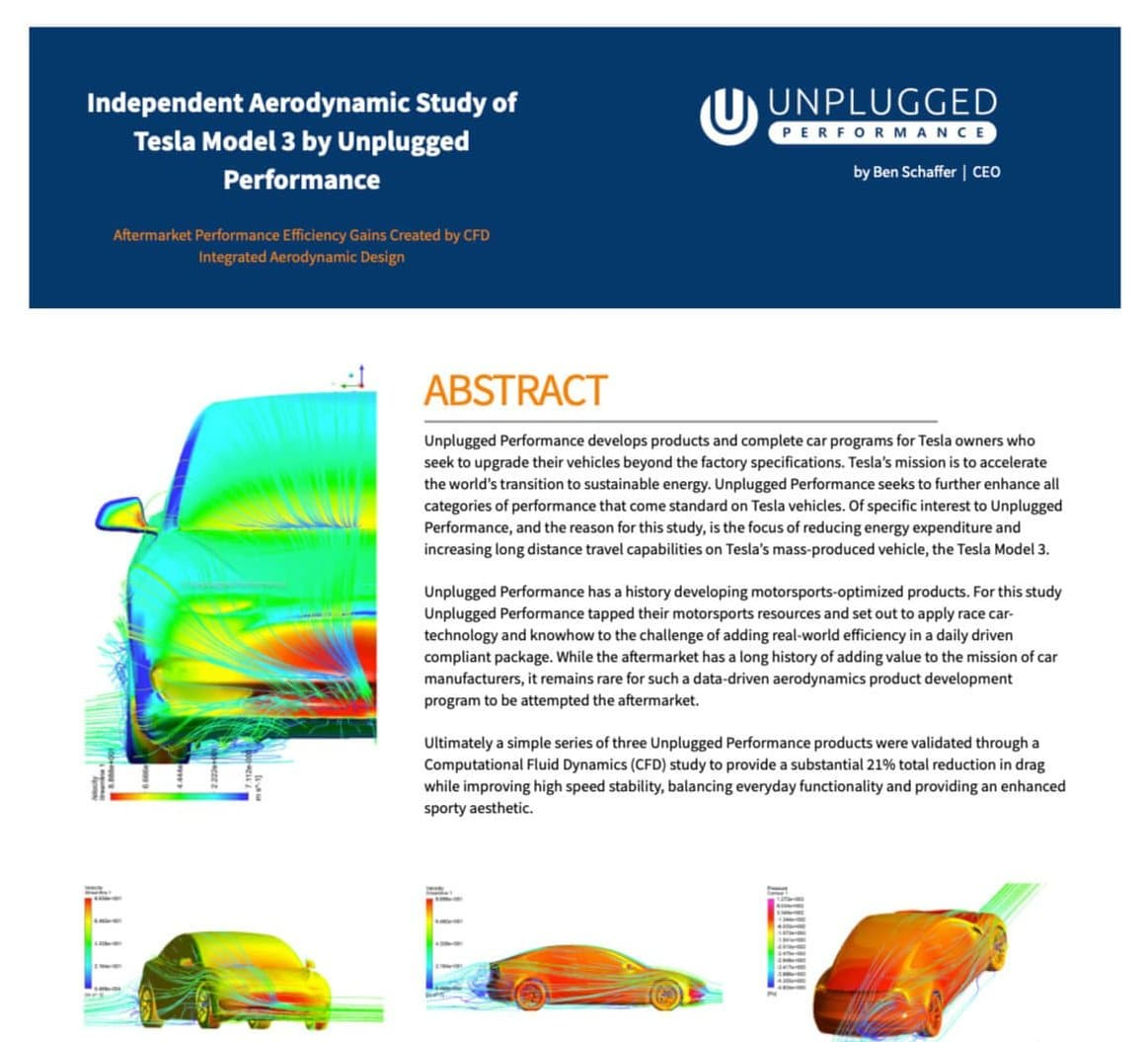 Unplugged Performance Tesla Model 3 Aerodynamics Study