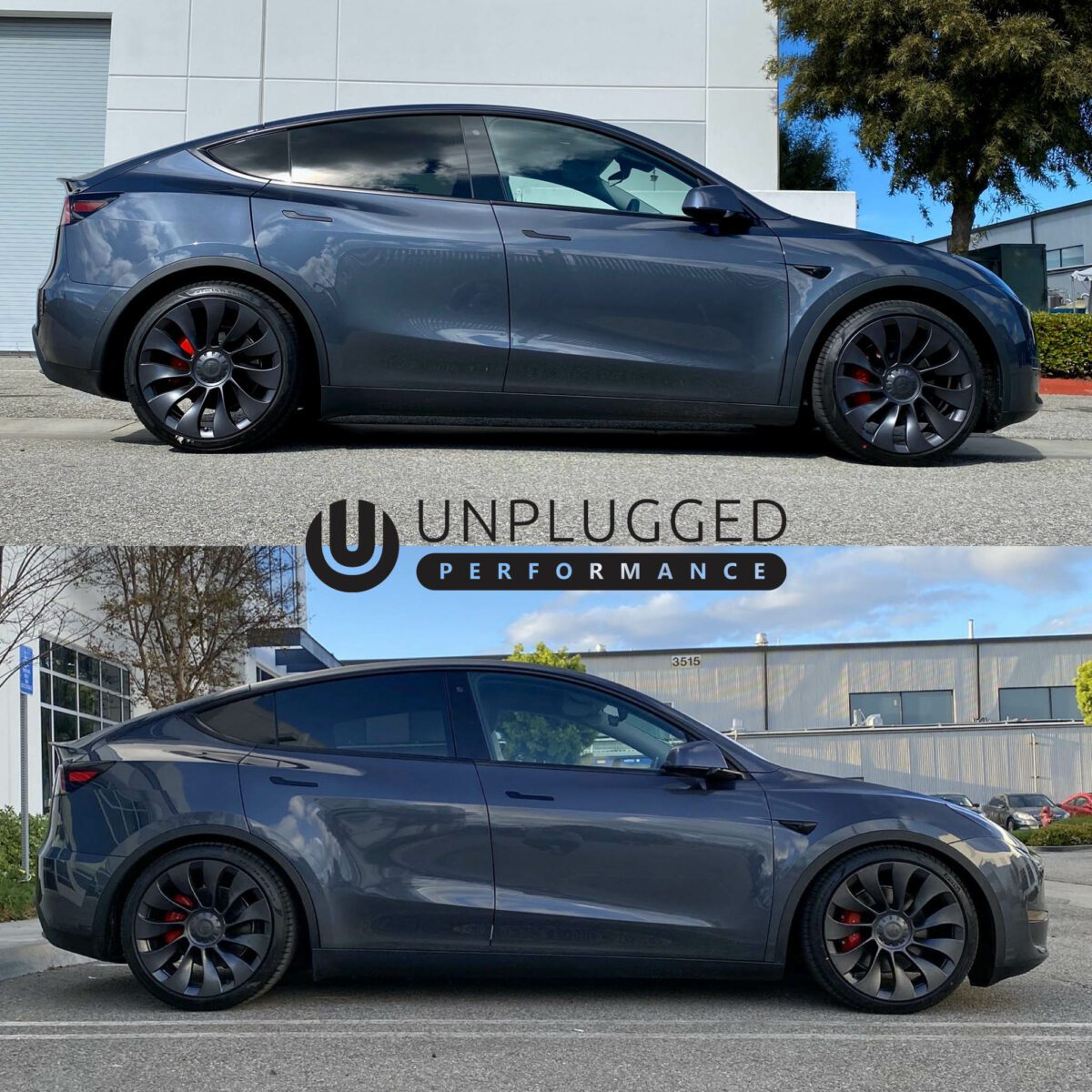 Unplugged Performance Model Y Before and After Lowering Springs