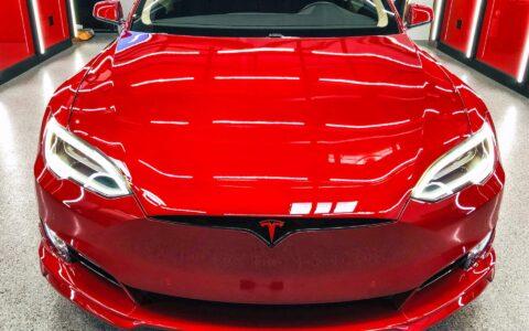 Tudor's Multi-Coat Red Tesla Model S P100D