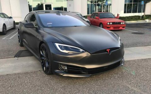 Dipak's Satin Gray Wrapped Tesla Model S P90D