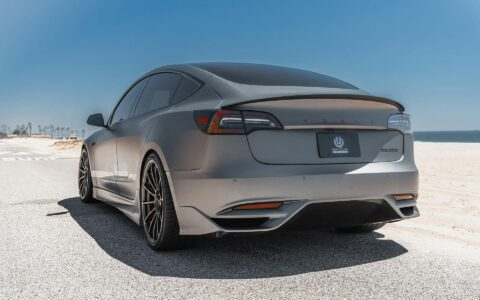 """Matte Gray Unplugged Performance Tesla Model 3 Ascension - 21"""" UP-03 Forged Wheels"""