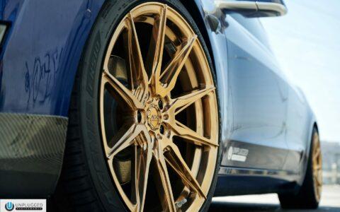 Deep Blue Metallic Tesla Model 3 MR - Unplugged Performance Lowering Springs And ADV005 FLOWSpec Wheels